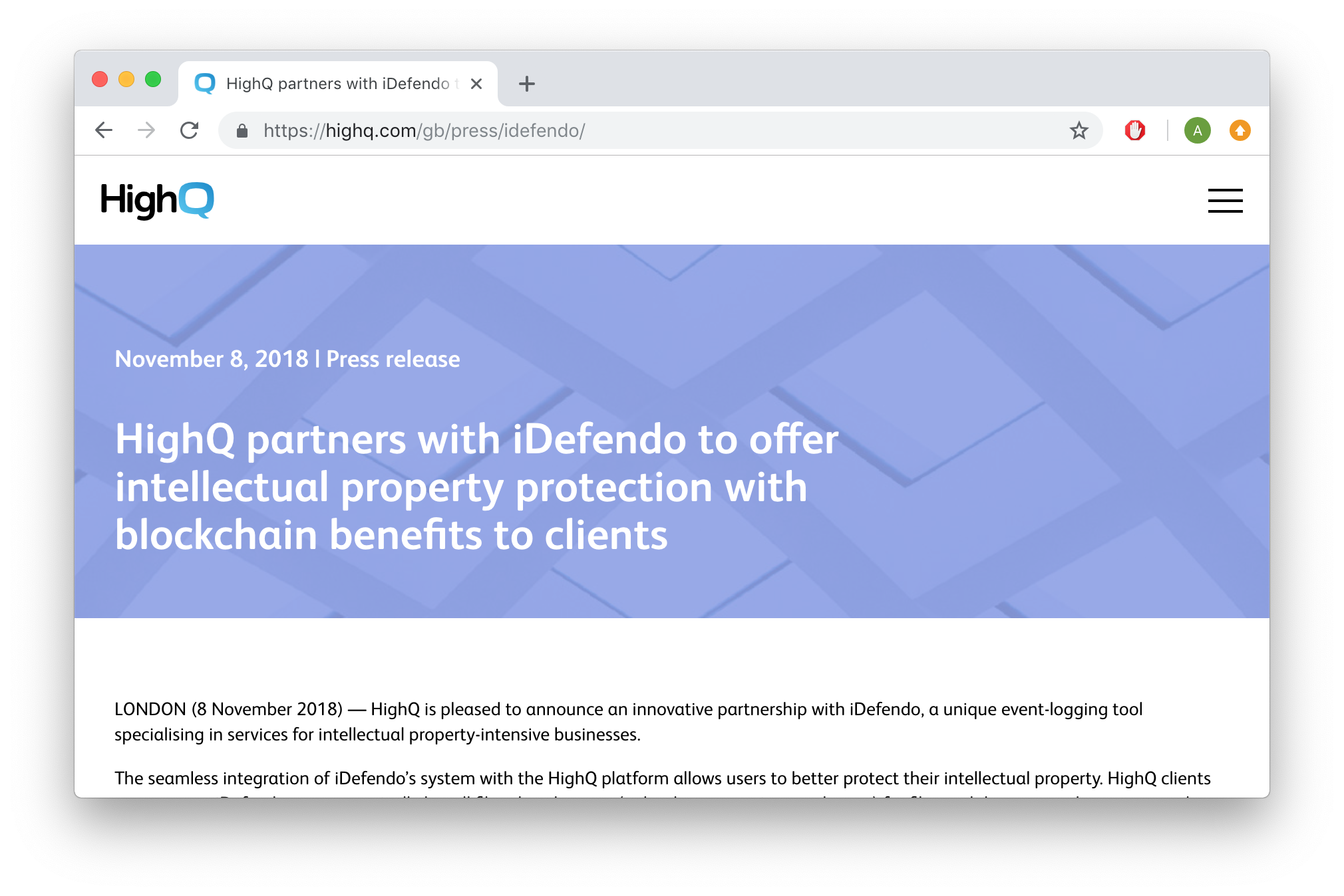 Press release from HighQ: HighQ partners with iDefendo to offer intellectual property protection with blockchain benefits to clients